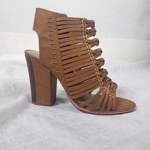 Braided Vegan Open Toe Heels